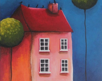 The Pink House - Acrylic Modern Painting