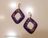 24k Gold Flakes in Rich Violet Diamond Shaped Hoop Earrings, Purple Hoop Earrings, Purple and Gold Earrings