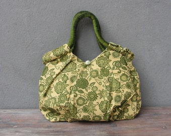 Green Floral Bag, Vintage Fabric and Felt Straps, Retro Grass