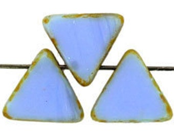 Opaque Blue Picasso 12mm Triangle Drop Beads, Czech Pressed Glass Triangle Beads, Set of 15 Pieces