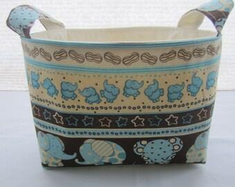 Fabric Organizer Baskets Storage Bin Container -  Baby Elephants Blue
