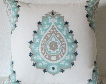 Pillow Cover - Damask - medallion - Blue  - Cushion Cover