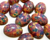 Harlequin Cabochon 6 pcs 14x10mm  Vintage Glass Pink fire Opal Stones S-16 B