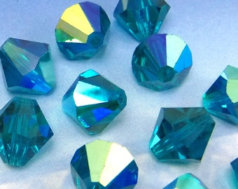 6 pcs 12mm Blue Zircon AB Article 5301 Green Crystal Beads Bicone  5328 Faceted B-237