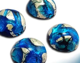 Blue Opal Cabochon 15 mm Silver Foil Vintage Glass Stone Cabochon S-395