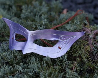 Purple Horned Leather Masquerade Mask