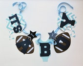 NEW Larger Size Football baby shower decorations baby blue and white chevron it's a boy banner by ParkersPrints on Etsy