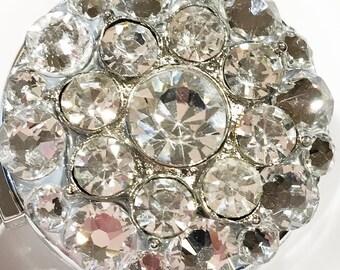 Crystal Clear Starburst Flower Swarovski Crystal (Multiple Color Options) Embellished Retractable ID Name Tag Badge Reel