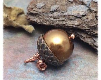 One Acorn Pendant or Charm in Bronze Faux Pearl & Vintaj Natural Brass with Copper, 12x17mm