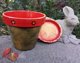 Painted Flower Pot - Red and Gold Planter - Rustic Planter