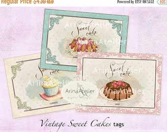 30% OFF SALE Vintage Sweet Cakes Tags - ATC Cards - Set of 8 - Collage Sheet Download - Digital Cupcakes - French Patisserie - Pastry Tags -