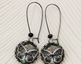 SALE Black Butterfly Earrings