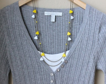 Colorful Triangle Garland Necklace. Modern. Geometric Jewelry. Orange, Blue, Yellow, Red or White