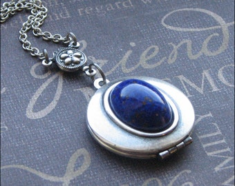 Lapis Lazuli Locket Necklace, Silver Locket, Locket For Woman, Lapis Blue Locket, Locket Jewelry, Photo Picture Locket, Wedding, Bridesmaid