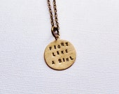 Fight Like A Girl Necklace. Handstamped. Cancer Awareness. Bronze. Personalized Jewelry. Inspirational. Handmade. Hand Stamped. Uplifting