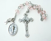 Saint Agatha HOPE Ribbon Rosary Prayer Chaplet -- Patroness of Breast Cancer