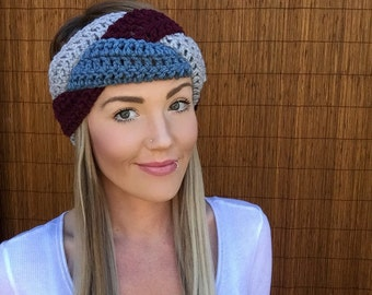 Dusty Blue, Grey, Burgundy Braid Head Hair Accessory Band Earwarmer Headband Crochet Knit Head Wrap Fashion Gray Girl Woman Unisex Boy Men
