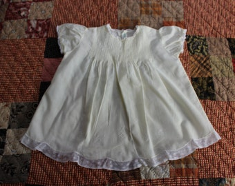 Infant Gown Yellow Cotton Dress Lace Embroidered Newborn layette Baby VINTAGE by Plantdreaming