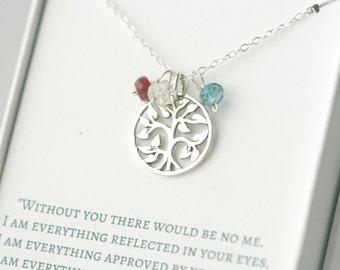 Family Tree Necklace - Silver Family Tree Necklace with Birthstones - Mom Birthstone Necklace - Family Tree Necklace for Grandma - Mom Gift
