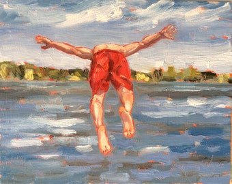 "MY TURN, 8"" x 10""  (20 x 26 cm) original oil painting on canvas board. Yvonne Wagner. Summer. Lake. Swimmer. Boy diving. Yvonne Wagner."
