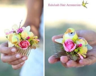 a yellow bird floral hair comb. a bird headpiece. wedding hair comb. summer headpiece. a romantic wedding hair comb. bridal head comb.