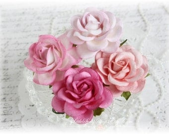 Shades of Pink Mulberry Trellis Roses Set of 4 for Scrapbooking, Cardmaking, Altered Art, Wedding, Mini Album