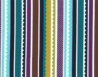 SALE - 1 yard - Carnival Stipe in Navy, Michael Miller Fabrics
