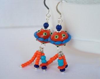 Funky Colorful Earrings, Modern Earrings, Unique Earrings, Lampwork Glass Earrings, Glass Bead Earrings, Orange Polka Dot Earrings