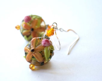 Garden Earrings, Flower Earrings, Floral Earrings, Lampwork Glass Earrings, Pink Orange Earrings, Nature Inspired Earrings