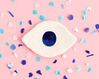 Sequin Eye Patch - Handmade - White & Navy