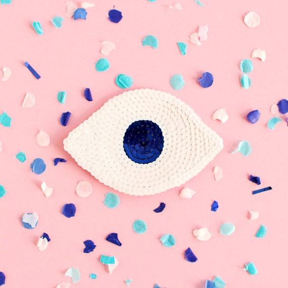 Sequin Eye Patch - Handmade - White & Navy