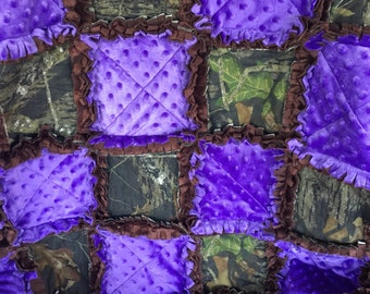 Mossy Oak/realtree  camouflage and purple minky rag style baby blanket