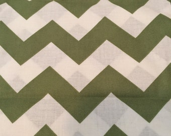 Free shipping- ivory and olive green chevron 100% cotton fabric