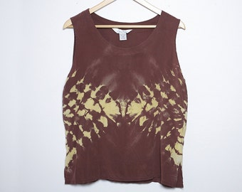 Upcycled Vintage Silk Blouse - Shibori Dye - Anne Carson - Medium - M -