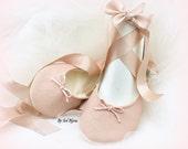 Blush Ballet Flats,Faux Leather Flats,Rose,Ballet Slippers,Wedding Flats,Ballerina Slippers,Bridal Shoes,Flower Girl Flats,Wedding Shoes