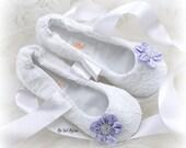 Wedding Flats, White, Lilac, Ballet Flats, Lace Flats,Bridal Flats, Prom,Elegant Wedding,Ballerina Slippers, Shoes,Floral Flats, Pearls