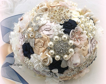 Brooch Bouquet, Blush Bouquet, Navy Blue Bouquet, Gold, Ivory, Bridal, Wedding, Jeweled, Pearls, Crystals, Lace, Vintage Wedding, Elegant
