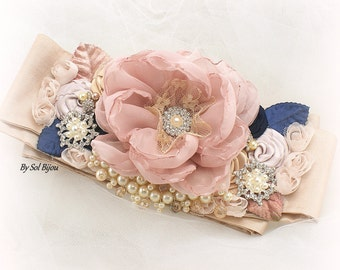 Sash, Blush Sash, Navy Blue Sash, Ivory, Gold, Champagne, Wedding Sash, Bridal Sash, Crystals, Brooch, Pearls, Elegant, Vintage Style