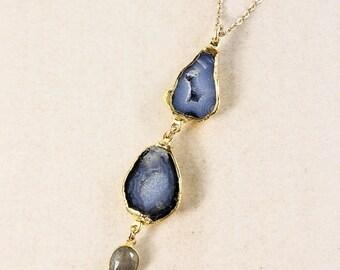 ON SALE Tabasco Geode Layering Necklace – Blue Labradorite – Boho