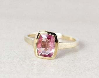 25% OFF Pink Tourmaline Ring - Rectangular - Bezel Set - 10Kt Gold
