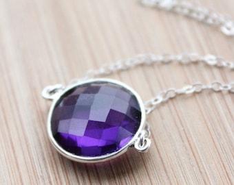 CLEARANCE SALE Silver Purple Amethyst Quartz Necklace - February Birthstone Necklace