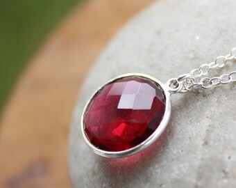 CLEARANCE SALE Silver Red Ruby Quartz Necklace - Gemstone Necklace - Sterling silver
