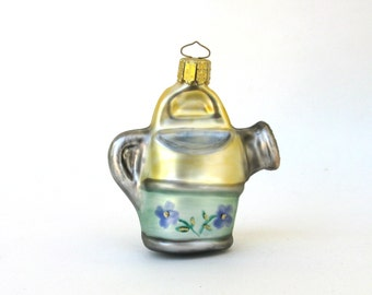 vintage hand blown glass ornament  ... christmas decor  ...  watering can