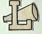 Cheerleader Letter - Varsity - Cheerleading - Letter L - Fashion - Halloween - White - Navy Blue Outline - Retro - 70s - Megaphone - Sports