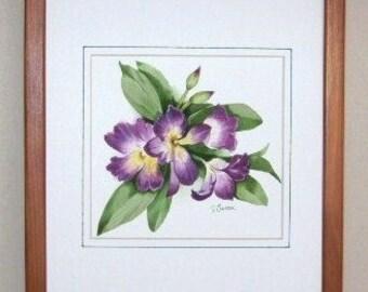 Orchid Dendrobium, Purple, OOAK Watercolor Flower Painting