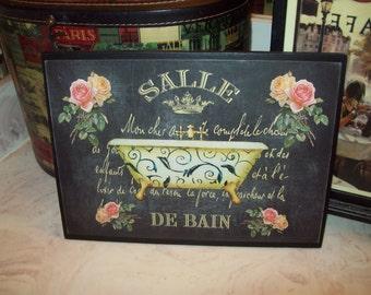 Salle De Bain large chalkboard look bathroom plaque,Paris decor,French decor,Paris bathroom decor,French bathroom decor,French wall decor