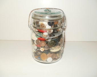 Vintage 1908 Ball Mason Jar Filled with Vintage Buttons - Decorative Crafts Sewing display