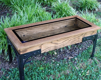Industrial Display Coffee Table with Glass Top, Display Coffee Table with Glass Top, Walnut Stain Finish - Handmade