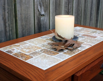"Slate Top Coffee Table.  Small Coffee Table.  Light Brown Natural Stone Coffee Table.  Slate Top Large End Table.   ""Cobbled Path"" Mosaic"