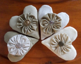 Set of 4 Natural Cotton Linen Wool  Embellished Valentine's Heart Ornies Bowl Fillers Shelf Sitters